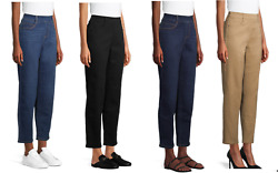 New Time And Tru Women's 5 Pocket Pull On Woven Stretch Pants Buy More Save