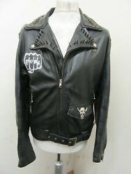Rare Vintage 70's Country Life Clothing Heavy Punk Leather Jacket Size M Chains