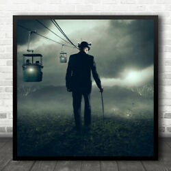 Cable Car Cars Man Cane Stick Hat Behind Mountain Mountains Wall Art Print