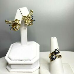 Vintage 14k Yellow Gold Blue Sapphire And Diamond Ring And Clip-on Earrings Set