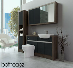 Bathroom Fitted Furniture Anthracite Gloss/mali Wenge 1300mm With Wall And Tall -