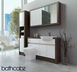 Bathroom Fitted Furniture White Gloss/mali Wenge 1300mm With Wall And Tall - Bathc