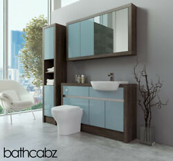 Bathroom Fitted Furniture Duck Egg Blue Gloss/mali Wenge 1300mm With Wall And Tall