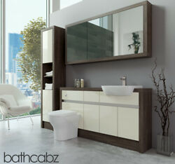 Bathroom Fitted Furniture Cream Gloss/mali Wenge 1500mm H1 With Wall And Tall - Ba