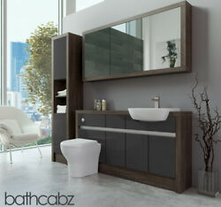 Bathroom Fitted Furniture Dark Grey Gloss/mali Wenge 1500mm H1 With Wall And Tall