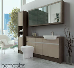 Bathroom Fitted Furniture Cappuccino Gloss/mali Wenge 1500mm H1 With Wall And Tall