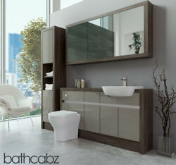 Bathroom Fitted Furniture Latte Gloss/mali Wenge 1500mm H1 With Wall And Tall - Ba