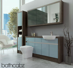 Bathroom Fitted Furniture Duck Egg Blue Gloss/mali Wenge 1500mm H1 With Wall And T