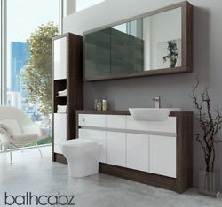 Bathroom Fitted Furniture White Gloss/mali Wenge 1500mm H1 With Wall And Tall - Ba