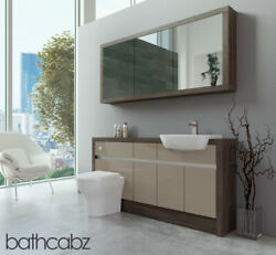 Bathroom Fitted Furniture Cappuccino Gloss/mali Wenge 1600mm H1 With Wall Unit -
