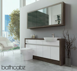 Bathroom Fitted Furniture White Gloss/mali Wenge 1600mm H1 With Wall Unit - Bath