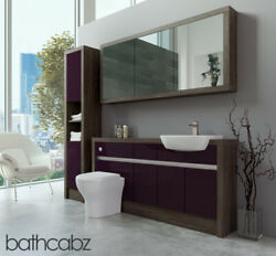 Bathroom Fitted Furniture Aubergine Gloss/mali Wenge 1600mm H1 With Wall And Tall