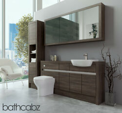 Bathroom Fitted Furniture Mali Wenge 1600mm H1 With Wall And Tall - Bathcabz