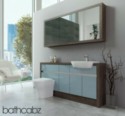 Bathroom Fitted Furniture Duck Egg Blue Gloss/mali Wenge 1600mm H1 With Wall Uni
