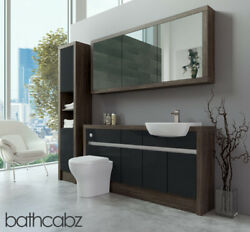 Bathroom Fitted Furniture Anthracite Gloss/mali Wenge 1600mm H1 With Wall And Tall
