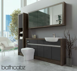 Bathroom Fitted Furniture Dark Grey Gloss/mali Wenge 1600mm H1 With Wall And Tall