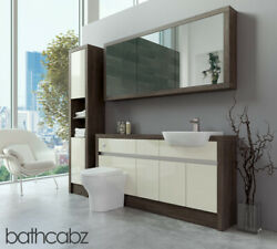 Bathroom Fitted Furniture Cream Gloss/mali Wenge 1600mm H1 With Wall And Tall - Ba