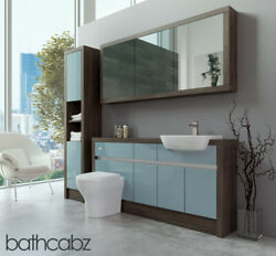 Bathroom Fitted Furniture Duck Egg Blue Gloss/mali Wenge 1600mm H1 With Wall And T
