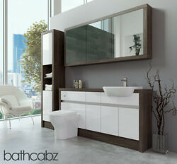 Bathroom Fitted Furniture White Gloss/mali Wenge 1600mm H1 With Wall And Tall - Ba
