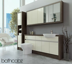 Bathroom Fitted Furniture Cream Gloss/mali Wenge 1700mm With Wall And Tall - Bathc