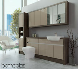 Bathroom Fitted Furniture Cappuccino Gloss/mali Wenge 1700mm With Wall And Tall -