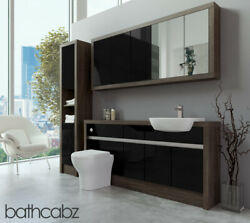 Bathroom Fitted Furniture Black Gloss/mali Wenge 1700mm With Wall And Tall - Bathc