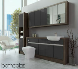 Bathroom Fitted Furniture Dark Grey Gloss/mali Wenge 1700mm With Wall And Tall - B