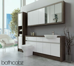 Bathroom Fitted Furniture White Gloss/mali Wenge 1700mm With Wall And Tall - Bathc
