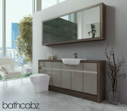 Bathroom Fitted Furniture Latte Gloss/mali Wenge 1800mm H1 With Wall Unit - Bath