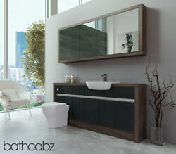 Bathroom Fitted Furniture Anthracite Gloss/mali Wenge 1800mm H1 With Wall Unit -