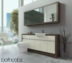 Bathroom Fitted Furniture Cream Gloss/mali Wenge 1800mm H1 With Wall Unit - Bath