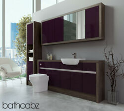 Bathroom Fitted Furniture Aubergine Gloss/mali Wenge 1800mm With Wall And Tall - B