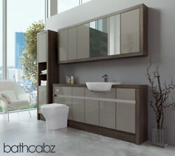 Bathroom Fitted Furniture Latte Gloss/mali Wenge 1800mm With Wall And Tall - Bathc