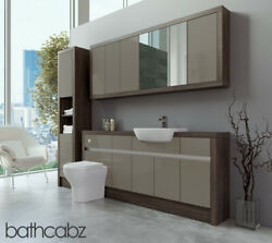 Bathroom Fitted Furniture Metallic Latte Gloss/mali Wenge 1800mm With Wall And Tal