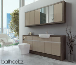Bathroom Fitted Furniture Cappuccino Gloss/mali Wenge 1900mm With Wall Unit - Ba