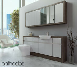 Bathroom Fitted Furniture Light Grey Gloss/mali Wenge 1900mm With Wall Unit - Ba
