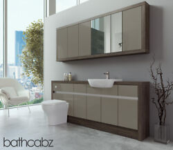 Bathroom Fitted Furniture Metallic Latte Gloss/mali Wenge 1900mm With Wall Unit
