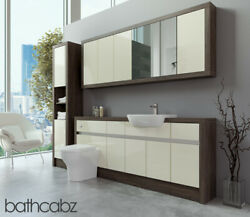 Bathroom Fitted Furniture Cream Gloss/mali Wenge 1900mm With Wall And Tall - Bathc