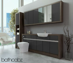 Bathroom Fitted Furniture Dark Grey Gloss/mali Wenge 1900mm With Wall And Tall - B