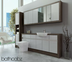 Bathroom Fitted Furniture Light Grey Gloss/mali Wenge 1900mm With Wall And Tall -