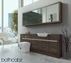 Bathroom Fitted Furniture Mali Wenge 2100mm H1 With Wall Unit - Bathcabz