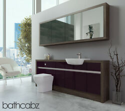 Bathroom Fitted Furniture Aubergine Gloss/mali Wenge 2100mm H1 With Wall Unit -