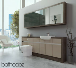 Bathroom Fitted Furniture Cappuccino Gloss/mali Wenge 2100mm H1 With Wall Unit -