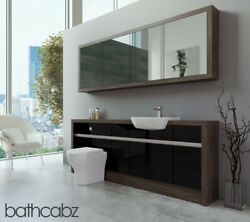 Bathroom Fitted Furniture Black Gloss/mali Wenge 2100mm H1 With Wall Unit - Bath