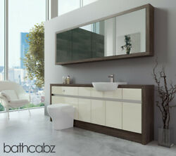 Bathroom Fitted Furniture Cream Gloss/mali Wenge 2100mm H1 With Wall Unit - Bath