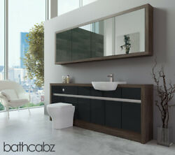 Bathroom Fitted Furniture Anthracite Gloss/mali Wenge 2100mm H1 With Wall Unit -