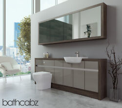 Bathroom Fitted Furniture Latte Gloss/mali Wenge 2100mm H1 With Wall Unit - Bath