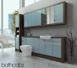 Bathroom Fitted Furniture Duck Egg Blue Gloss/mali Wenge 2100mm With Wall And Tall
