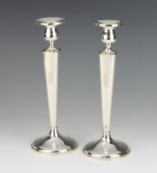 A Pair Of Sterling Silver Candlesticks 10 Inches High American Sterling Silver
