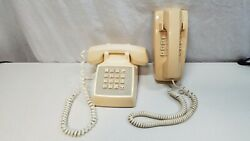 Lot Of 2 Vintage Att 100 Touch Tone Push Button Phones, Desk And Wall